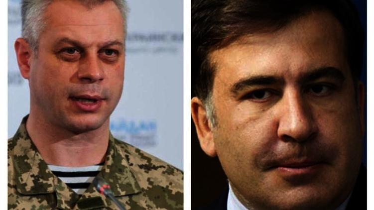 Спикер АП по вопросам АТО Андрей Лысенко и глава Одесской ОГА Михаил Саакашвили, фото: