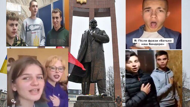 Зачем украинские тиктокеры начали петь в школьных туалетах песню праворадикалов. Коллаж