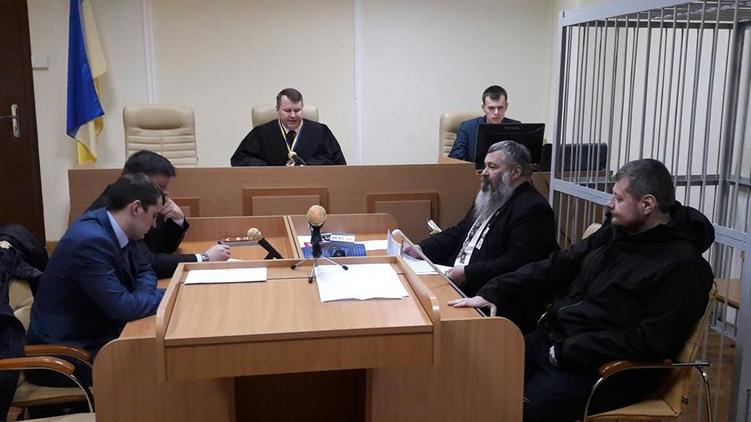 Незрячий адвокат Владимир Турский (с бородой) на последнем заседании по делу Игоря Мосийчука, что прошло 25 марта в Печерском суде